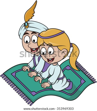 couple flying carpet cute illustration