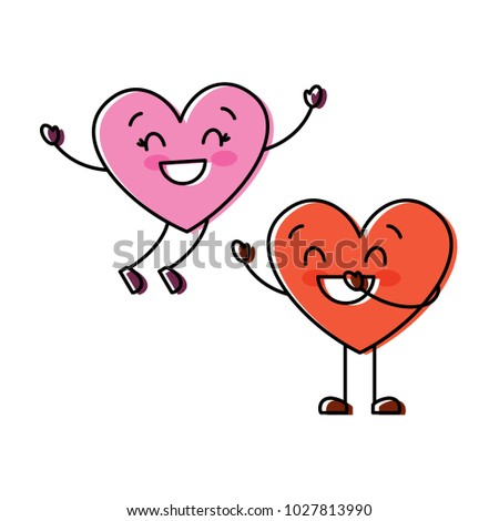 couple happy hearts in love together forever