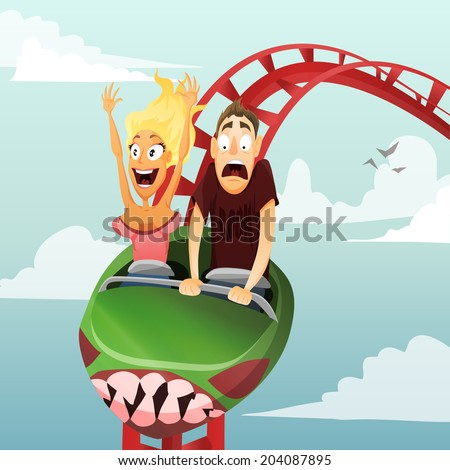 Couple have date in roller-coaster. Girl and boy