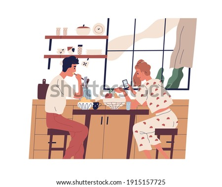Couple having breakfast or lunch at home. Young people eating food and surfing the internet on mobile phone in modern kitchen. Colorful flat vector illustration isolated on white background