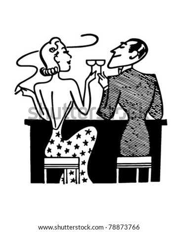 Couple Having Cocktails In Club - Retro Clipart Illustration