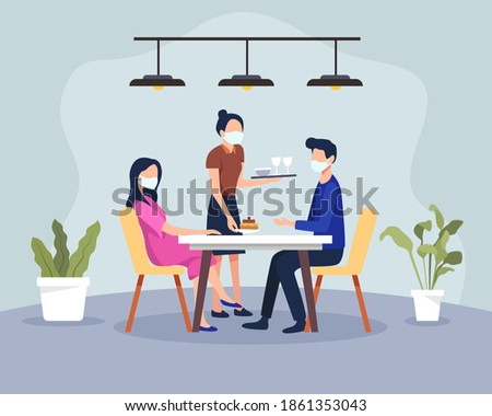 Couple having dinner in a restaurant with health protocols. New normal scene at restaurant, Men and women in cafe or restaurant. Waiter wearing medical mask and client. Vector in a flat style