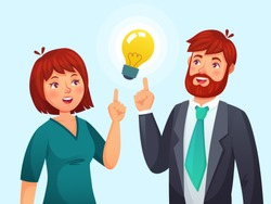 Couple having idea. Husband and wife have solution, adult male and female solved problem or ideas lamp metaphor. Imagination problems or business meeting cartoon vector illustration