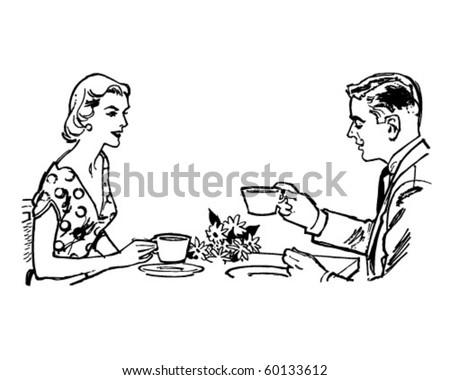 couple having tea   retro clip