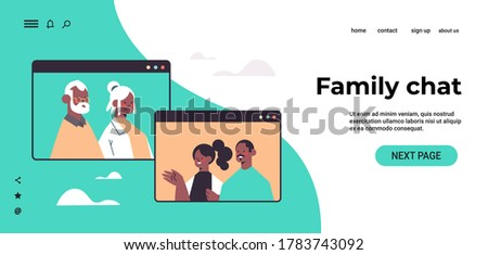 couple having virtual meeting with grandparents during video call family chat communication concept african american people in web browser windows portrait horizontal copy space vector illustration