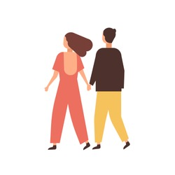 Couple holding hands flat vector illustration. Young people dating cartoon characters. Loving pair romantic relationship. Boyfriend walking with girlfriend. Happy sweethearts on stroll back view.