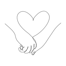 Couple holding hands together with heart symbol between. Love feelings. Vector illustration in continuous line art drawing style