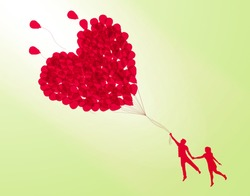 couple holding heart shape balloon