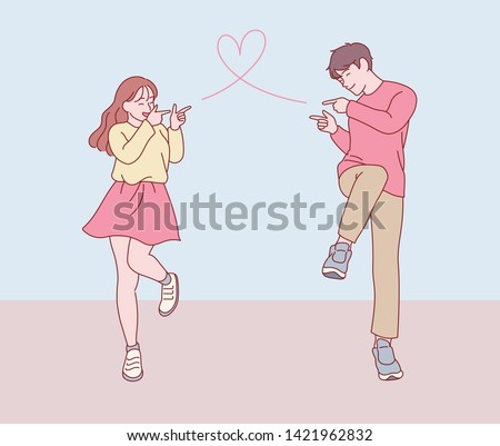 Couple holding one leg and pointing a finger and posing cute to each other. hand drawn style vector design illustrations.