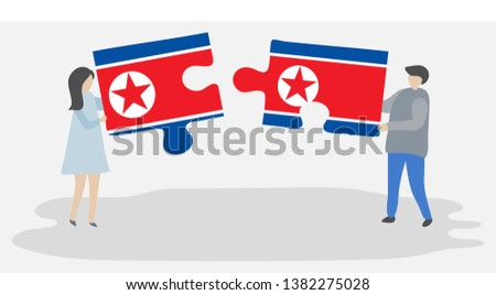 Couple holding two puzzles pieces with North Korean and North Korean flags. North Korea and North Korea national symbols together.