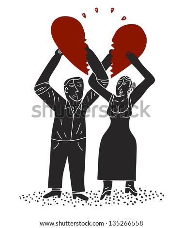 couple holds halves of a