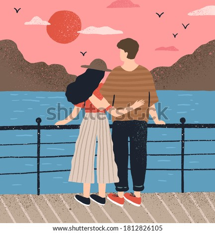 Couple hugging standing on waterfront admiring seascape at sunset vector flat illustration. Man and woman having romantic date back view. Boyfriend and girlfriend relaxing together on embankment