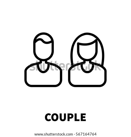 Couple icon or logo in modern line style. High quality black outline pictogram for web site design and mobile apps. Vector illustration on a white background.