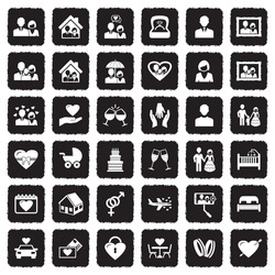 Couple Icons. Grunge Black Flat Design. Vector Illustration.