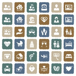 Couple Icons. Grunge Color Flat Design. Vector Illustration.