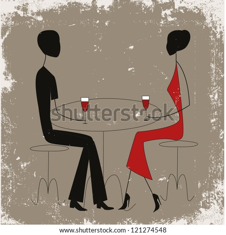 Couple in a restaurant, stick figures