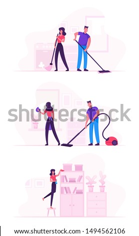 Couple in Household Housekeeping Activity. Everyday Routine of Home Duties and Chores, Houseworking Characters Cleaning House, Mopping, Wiping Dust and Vacuum Cleaning Cartoon Flat Vector Illustration Foto d'archivio ©