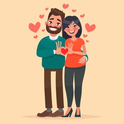 Couple in love. A man and a woman show heart with his hands. Characters for the feast of Saint Valentine. Vector illustration in cartoon style
