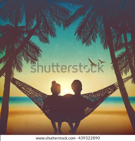couple in love at the beach on