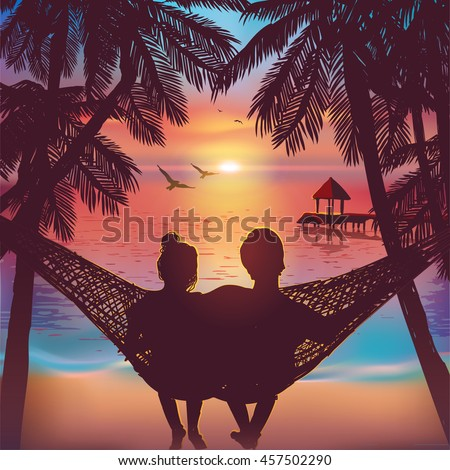 Couple in love at the beach on hammock. Inspiration for wedding, date, romantic travel card. Family