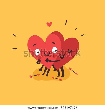 Couple in love concept, two cute hearts hugging