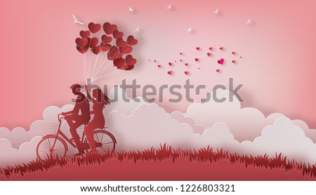 Couple in love, happy couple riding along on mountain with one hand holding heart shaped balloons, paper art style, flat-style vector illustration.
