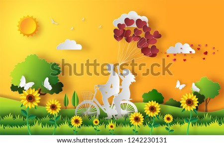 Couple in love, happy couple riding along on mountain with one hand holding heart shaped balloons, beautiful sunset background, paper art style, flat-style vector illustration.