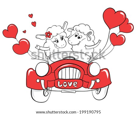 Free Retro Just Married On Car Vector Download Free Vector Art - Artist wife doodles husbands car