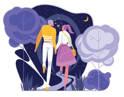 Couple in Love Having Romantic Date in Park at Night Flat Cartoon Vector Illustartion. Happy Man and Woman Characters in Pairs Holding Hands. First Meeting. Lovely Relationship. Walking on Nature.