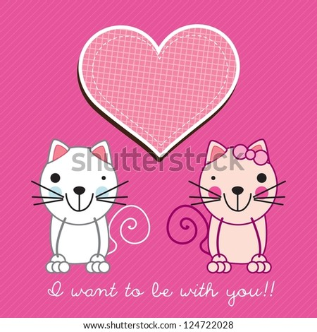 Couple in love kittens on pink background. Vector Illustration