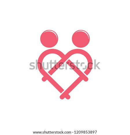 couple in love linked monogram logo vector