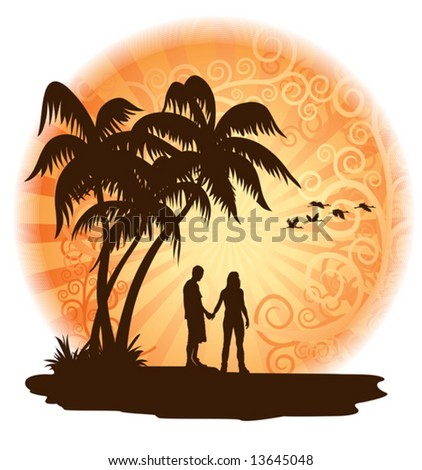 Couple in love looking at the sunset