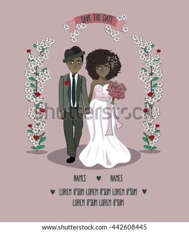 Couple in love newlyweds , under arc flowers, card , wedding invitation, ethnic couple. Black couple. #442608445