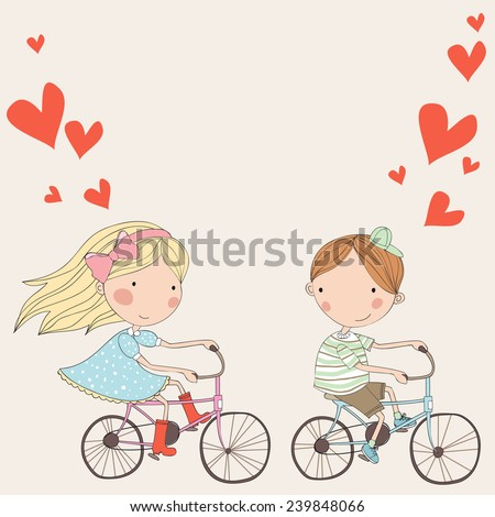 couple in love on  bicycles