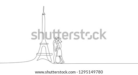 Couple in love one line drawing with eiffel tower symbol of romance and soulmate.
