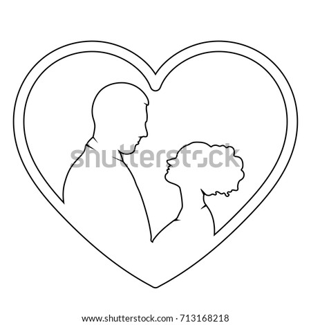 couple in love outline  vector