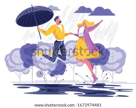 couple in love running under