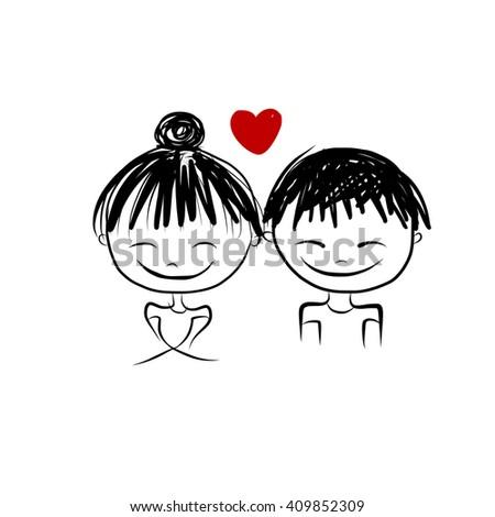 Couple in love together, valentine sketch for your design, vector illustration