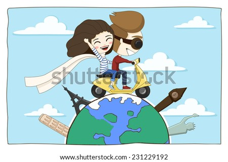 couple in love traveling around