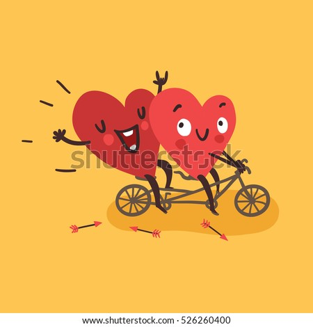Couple in love. Two happy hearts biking. Happy Valentine's day vector card