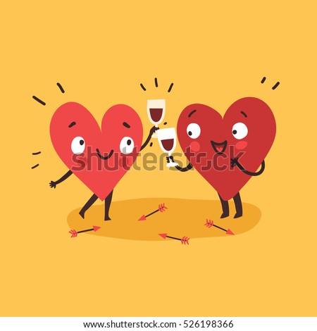 Couple in love. Two happy hearts in love drinking red wine