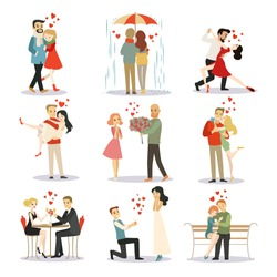 Couple in love vector characters isolated