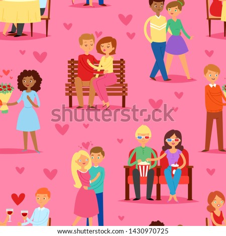 Couple in love vector lovers characters in lovely relationships on loving date together on Valentines day and boyfriend kissing loved girlfriend illustration hearted background