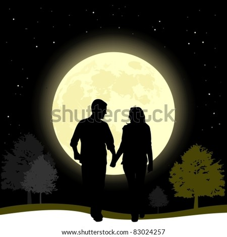 Couple in love walking in a full moon night