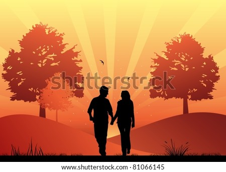 Couple in love walking in the park