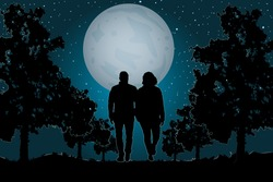Couple in love walking together in the park on the moonlight. Valentine's Day. Happy Lovers. Romantic silhouette of loving couple in Valentines night. Man and woman in night scene. Vector illustration