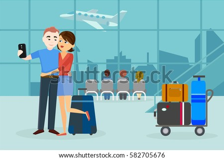 couple in love with luggage at