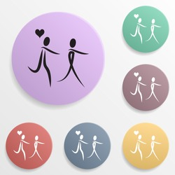 Couple in love with the balls of the heart badge color set icon. Simple glyph, flat vector of valentine's day- wedding icons for ui and ux, website or mobile application