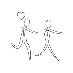 couple in love with the balls of the heart icon. Element of valentine's day, wedding for mobile concept and web apps icon. Outline, thin line icon for website design