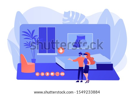 Couple in VR glasses. Property virtual reality simulation. Real estate virtual tour, VR virtual house tour, virtual tours creating services concept. Pinkish coral bluevector isolated illustration